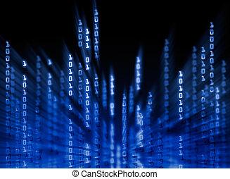 código binario, datos, exhibición, fluir