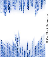 código binario, datos, fluir, en la exhibición