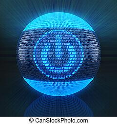 código binario, potencia, globo, formado, señal