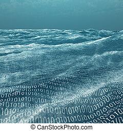 código binario, vasto, mar