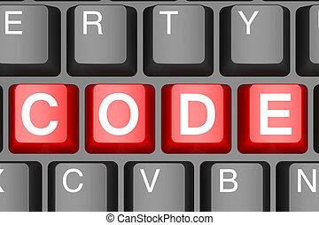 código, botón, moderno, ordenador teclado, rojo