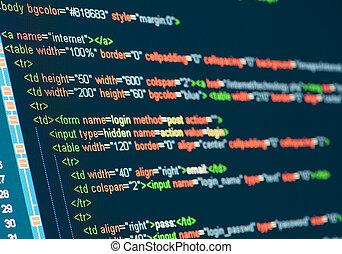 código, computadora, html