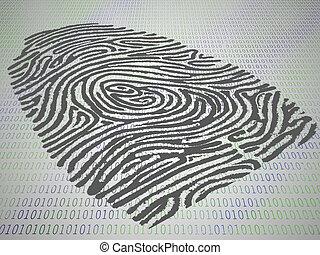 código, estampado, conceitual, computador, impressão dedo
