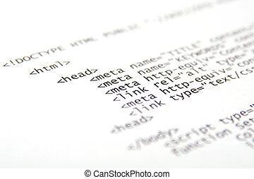 código, -, foco, cortocircuito, html, impreso, plano de...