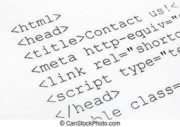 código, internet, html, impreso