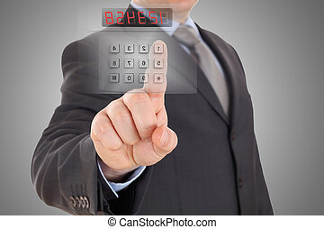 código, sistema de alarma, ajuste, hombre de negocios, ...