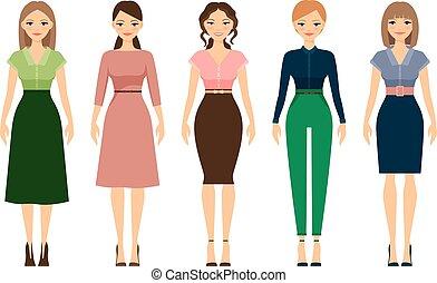 código vestido, estilo, mulheres, ícones, romanticos