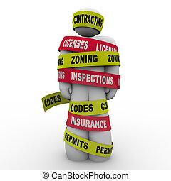 códigos, constructor, zoning, contratante, envuelto, corbata, licenses, inspección