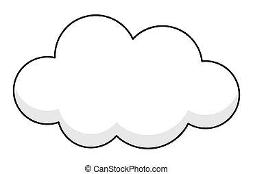 cómico, bandera, nube