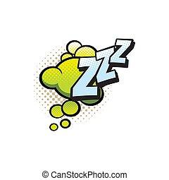 cómico, burbuja, zzz, caricatura, sonido, libro, nube, snore