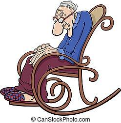 cómico, caricatura, 3º edad, silla, mecedor, carácter