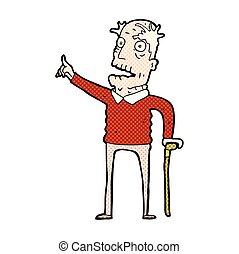 cómico, caricatura, viejo, con, bastón