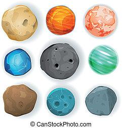 cómico, conjunto, planetas