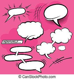 cómico, discurso, burbujas