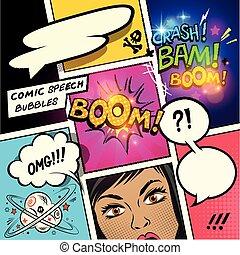 cómico, discurso, burbujas, y, efectos