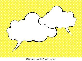 cómico, discurso, vacío, blanco, burbujas, se