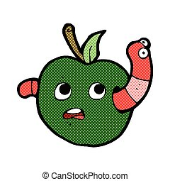 cómico, gusano, manzana, caricatura