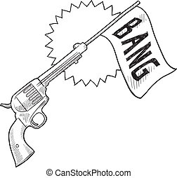 cómico, pistola, bosquejo