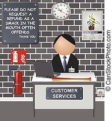 cómico, servicios de cliente, escritorio