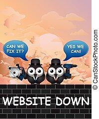 cómico, sitio web, abajo