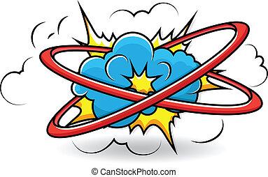 cómico, vector, explosión, libro, nube