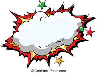 cómico, vector, nube, plano de fondo