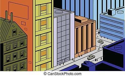 cómicos, calle de la ciudad, retro, escena