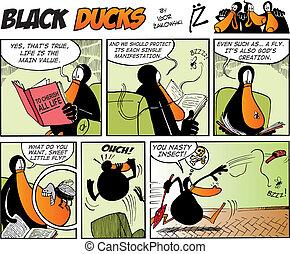 cómicos, negro, episode, 36, patos