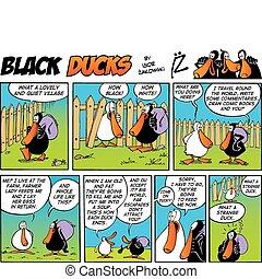 cómicos, negro, episode, 4, patos