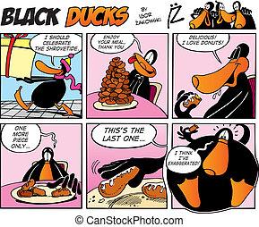 cómicos, negro, episode, 40, patos