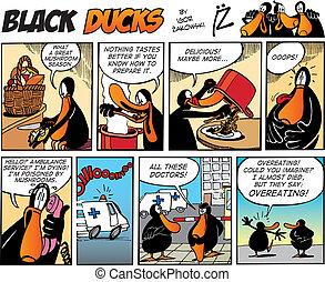 cómicos, negro, episode, 65, patos