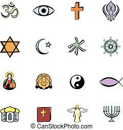 cómicos, religión, conjunto, caricatura, iconos