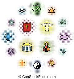 cómicos, religión, conjunto, iconos