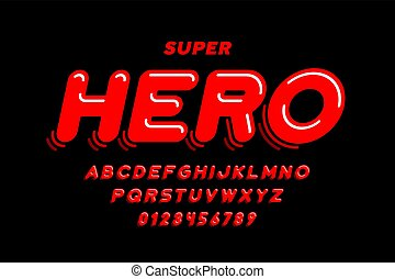 cómicos, súper, estilo, héroe, fuente