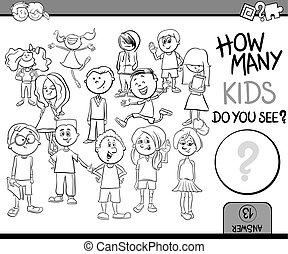 cómo, colorido, niños, libro, muchos