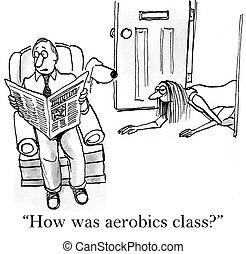 cómo, era, aeróbicos, clase, para, agotado, esposa