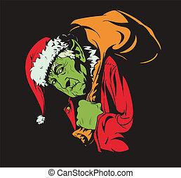 cómo, estola, navidad, grinch