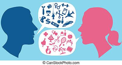 cómo, hombres, comunicarse, mujeres