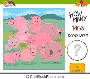 cómo, juego, cerdos, muchos