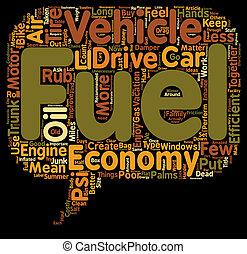 cómo, para conseguir, mejor, combustible, economía, texto, plano de fondo, wordcloud, concepto