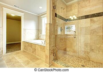 cómodo, cuarto de baño, con, tina, y, puerta de vidrio,...
