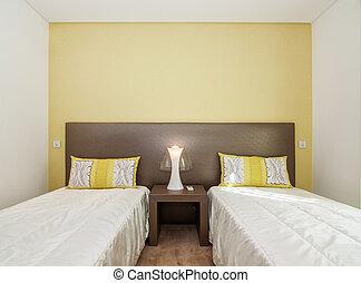 cómodo, dormitorio, en, sombras, de, yellow.