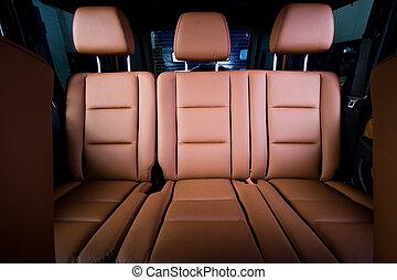cómodo, espalda, asientos, coche, moderno, pasajero