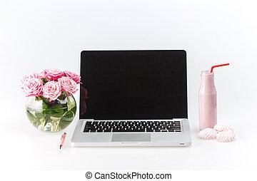cómodo, lugar de trabajo, con, computador portatil, blanco
