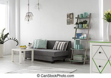 cómodo, sala, interior, con, elegante, lámparas
