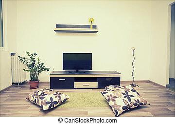 cómodo, sala, interior