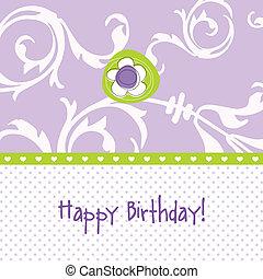 cópia, cartão, aniversário, espaço