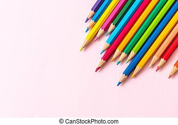 cópia, cor lápis, espaço