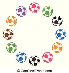 cópia, futebol, ao redor, bola, espaço