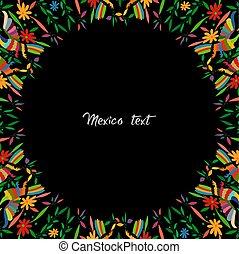 cópia, mexicano, espaço, pretas, pavões, otomi, fundo, floral, redondo, coloridos, hidalgo, bordado, tenango, m?xico., estilo, têxtil, estilo, composição, tradicional